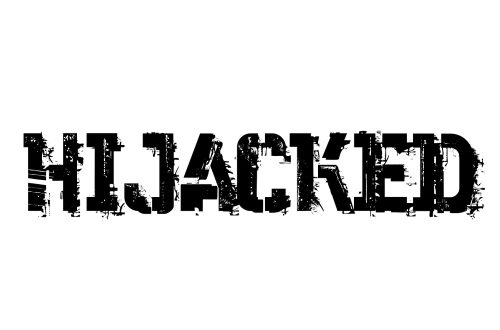 The word Hijacked in small caps