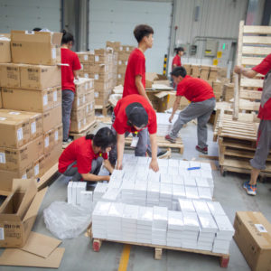 Warehouse workers Inspecting and receiving