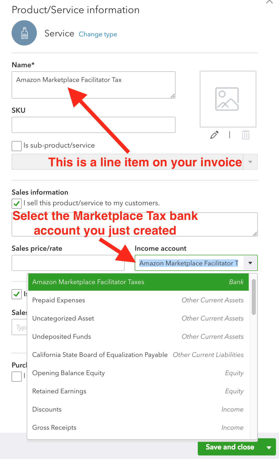 Amazon to QuickBooks Online Accounting: Configuring Sales