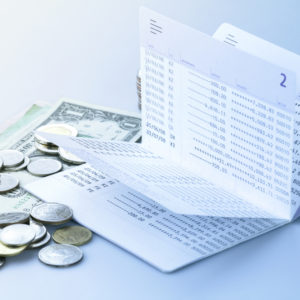 Checkbook with Cash and coins