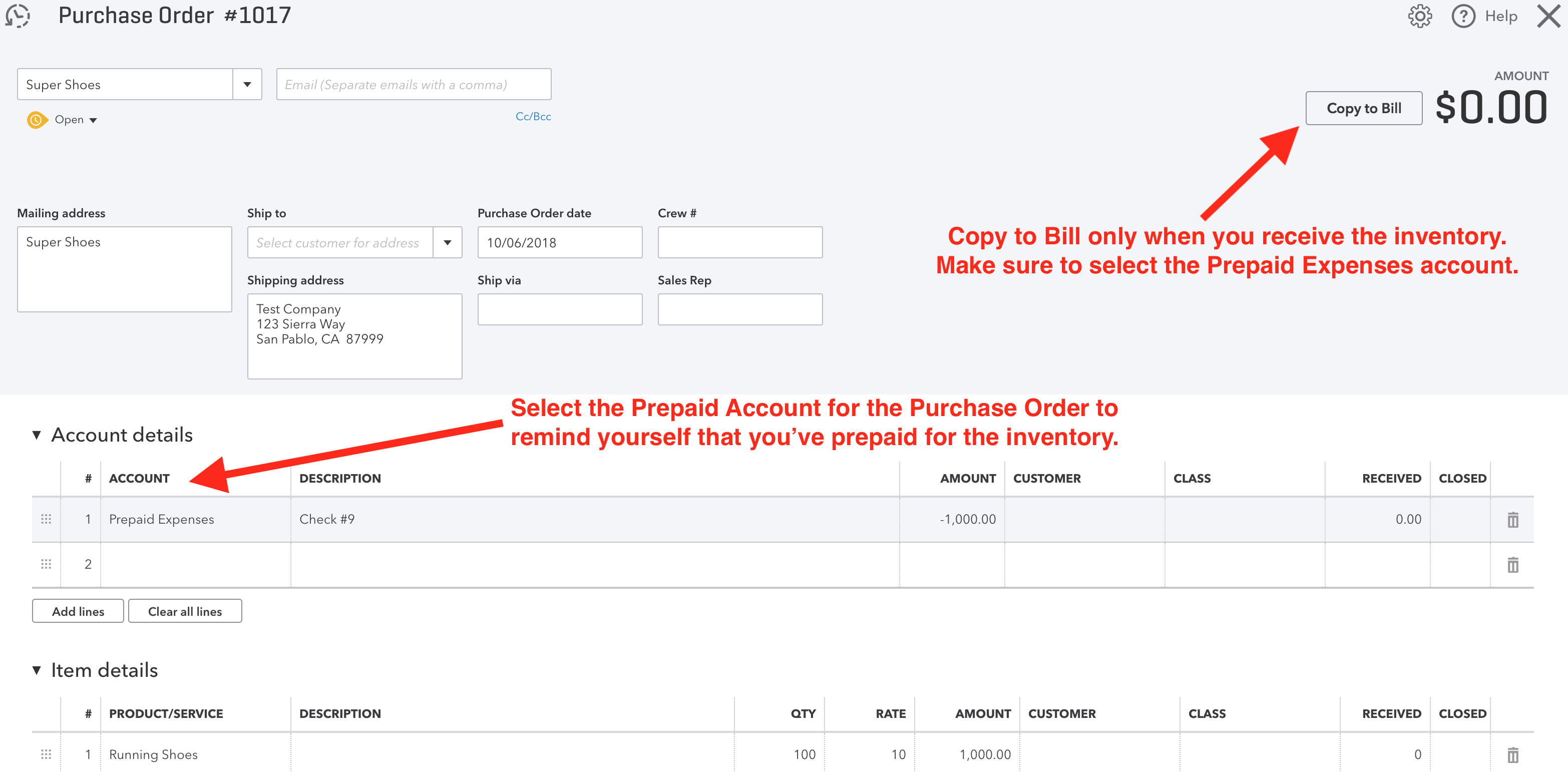 Amazon to QuickBooks Online Accounting: Using Purchase Orders to