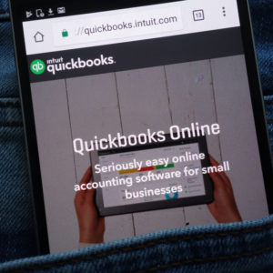Smartphone with QuickBooks Online page