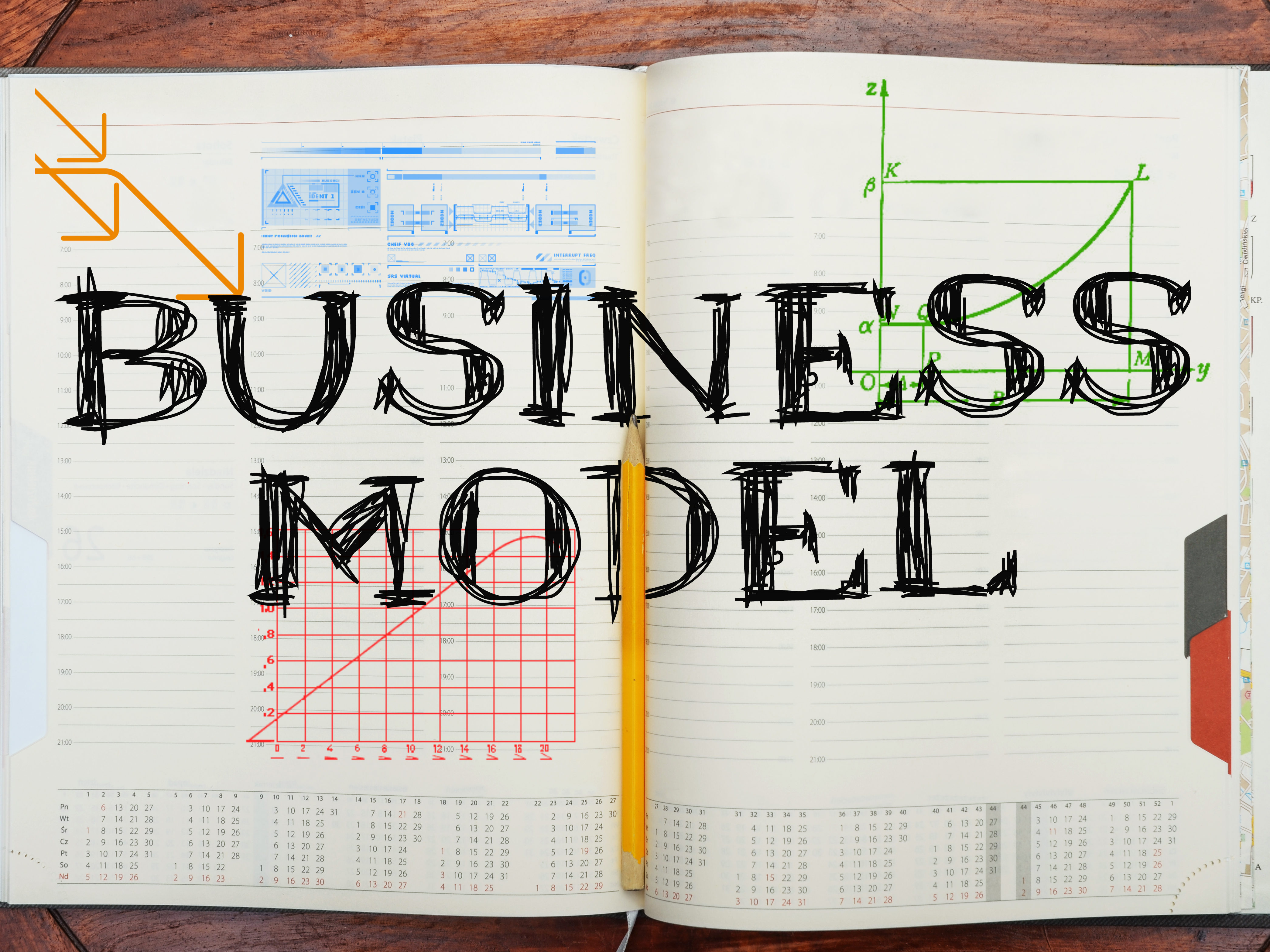 Business model text on notebook
