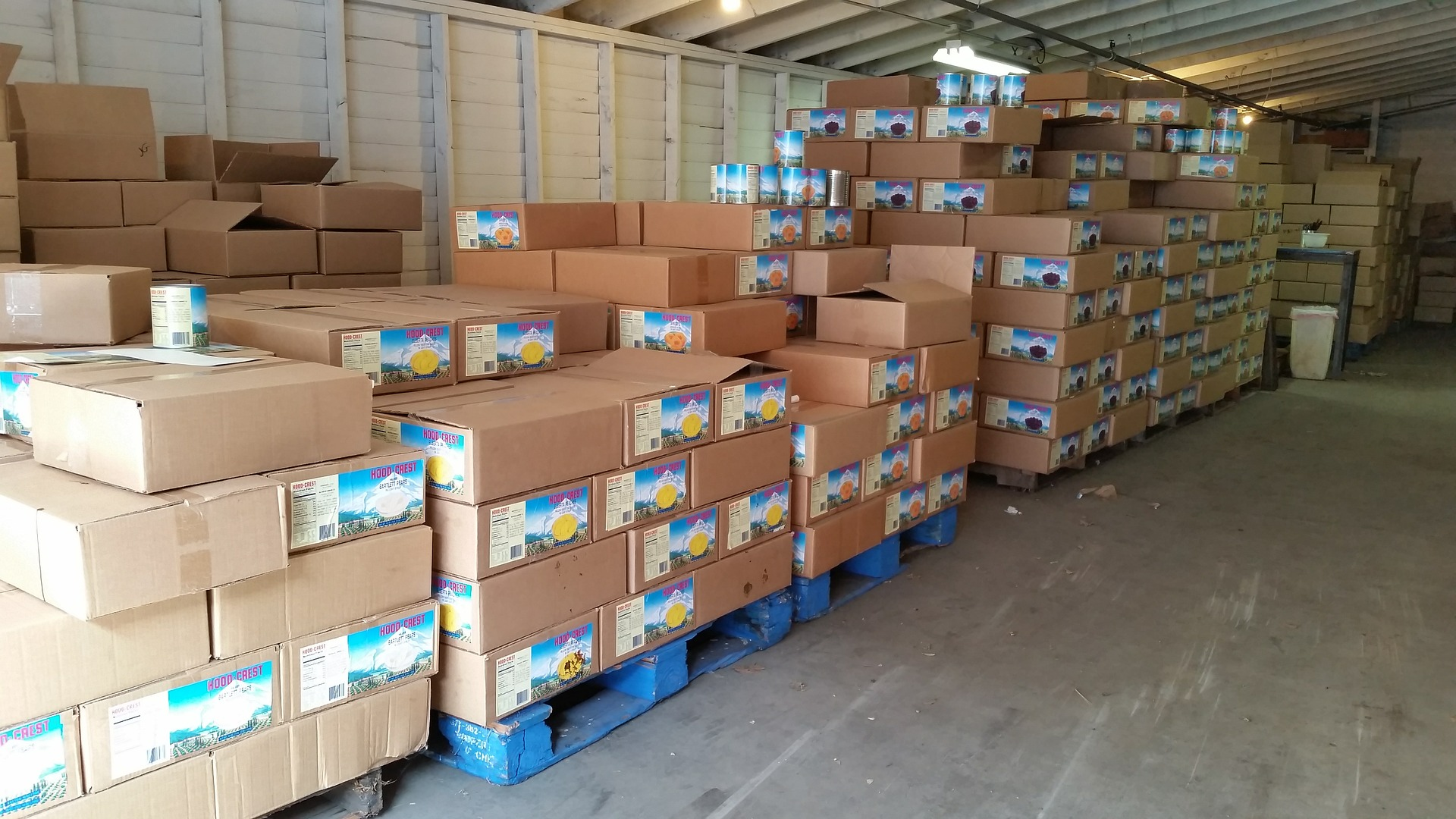 Food packages on pallets