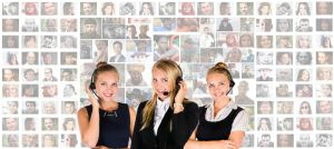 Three women wearing headsets call center